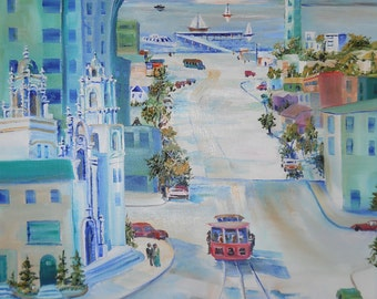 "San Francisco Cable Car 3, San Francisco, Victorians, City View, 21 w "" x 25 h"", Dan Leasure Oil"