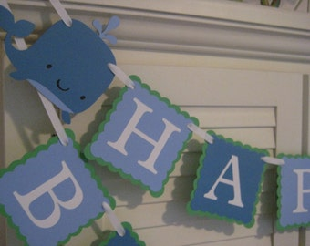Whale Themed Banner/ Birthday Garland/ 1st Birthday/ Nautical Party/ Party Supplies/ Blue and Green/ Name/ Age/ Custom Colors