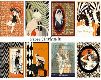 GATSBY Art Deco Printable Digital Jazz Age TAGS, Scrapbooking, Journaling, Decoupage, Pendants