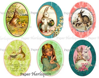 Easter BUNNY Printable Vintage Style DIY Oval Tags, Scrapbook, Journal, Banner, Cards, Decoupage
