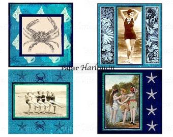 Seashore Nautical Vintage Bathing Beauties 4x4 Square Tile Coasters Printable DIY