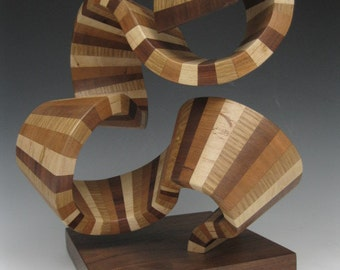 Modern abstract wood sculpture
