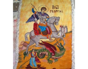 Felt Tapestry,Felt Art Icon,Felt Icon of St. George,Felt Wall Picture,Felt Wall Rug,Bysantyne Icon Felt of St. GeorgeFirst of  the kind