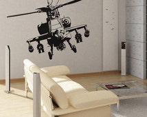 Apache Helicopter - uBer Decals Wall Decal Vinyl Decor Art Sticker Removable Mural Modern A209