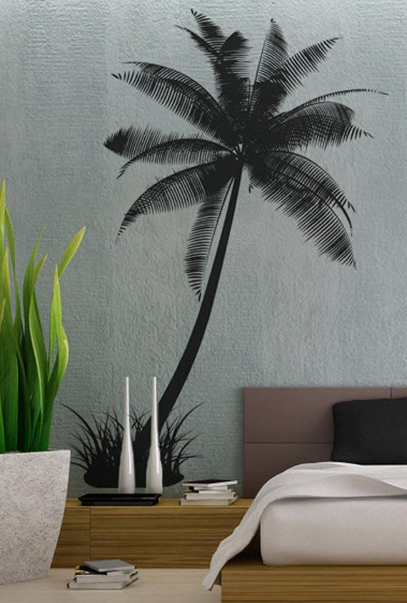 items similar to palm tree 2 uber decals wall decal vinyl decor art sticker removable mural. Black Bedroom Furniture Sets. Home Design Ideas