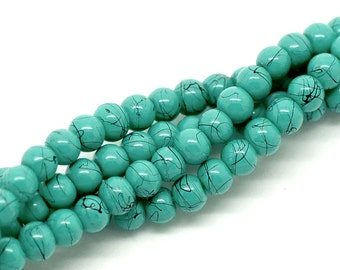 10 pcs - 4 mm Turquoise & Black Glass  Beads