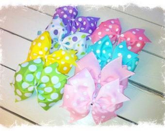 Spring Hair Bows-Easter Hair Bows-Pinwheel Hair Bow-Pick 4-Girls Hair Bows