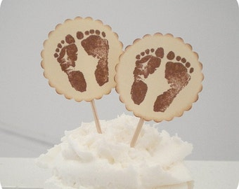 Baby Feet Cupcake Toppers (10) - Footprint Toppers-Baby Shower Toppers-Cupcake Picks-It's a Boy-It's a Girl-Feet Toppers-Baby Boy-Baby Girl