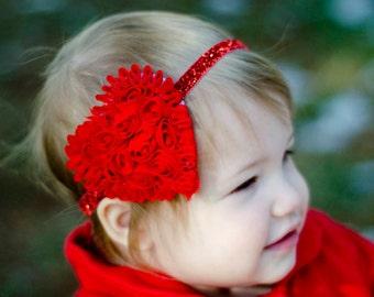 Valentines Day Sparkling Red Shabby Chiffon Heart on Glitter Elastic Headband - Gift - Perfect Newborn Photo Prop - Hair Bow