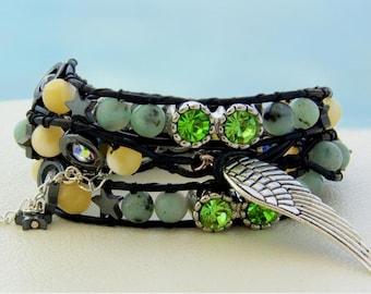 Venice... Leather wrap bracelet... romantic dream triple wrap bracelet. Original OceanBead style.