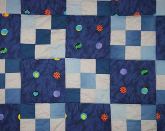 Boy Baby Toddler Quilt / Personalized / Blue Handmade Patchwork Quilt