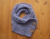 Warm, Cozy, Lilac Scarflette with Oversized Wooden Buttons