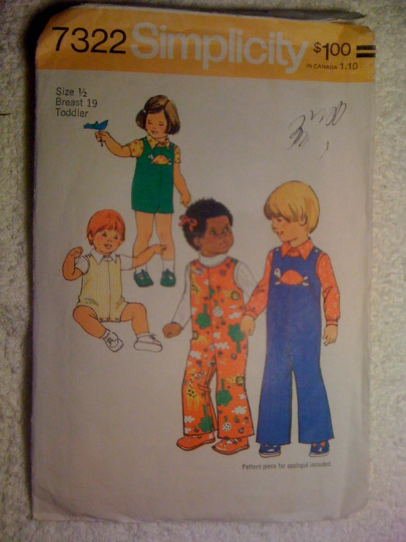 Simplicity 70s Sewing Pattern 7322 Toddlers Jumpsuit in Two Lengths and Shirt Sale