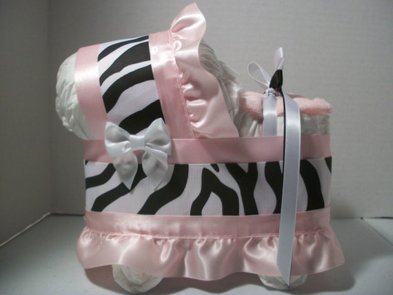 Light Pink Black And White Zebra Print Girl Diaper Bassinet