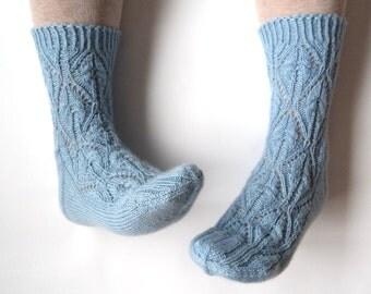 Heavenly soft blue wool socks. Lace socks. Pastel blue lace. Luxurious hand knit socks. Bed socks. House socks. Boudoir.