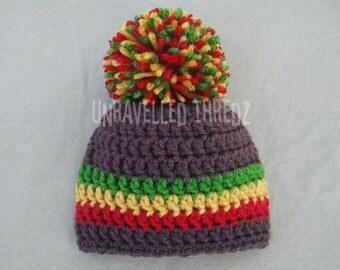 Baby Rasta Hat, Pom Pom Baby Hat, Crochet Baby Hat