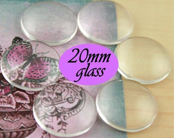 50 20mm Glass Domes. 20mm Craft Glass Domes - Great for Cuff Links, Tie Clips, Earring Making.