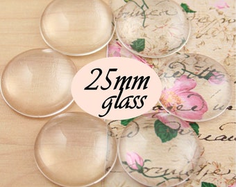 SALE - 200 25mm  Clear Glass Cabochon Round Domes High Quality Craft Glass