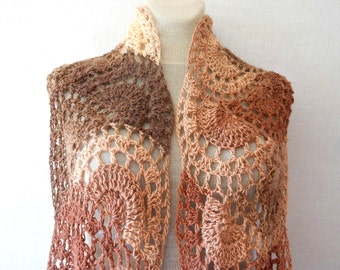 Crochet Long Stole Scarf Shawl Wrap Cowl Brown Multicolor Wool Vintage Style