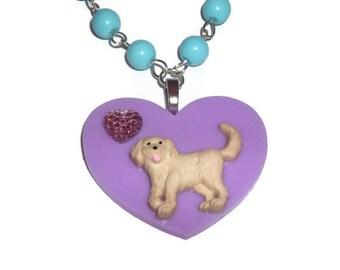 Cute Dog Necklace, Blue Beaded, Golden Retriever Kawaii Lilac Lavender Pastel Heart
