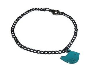 Black Chain Bracelet, Dainty Teal Bird Jewelry