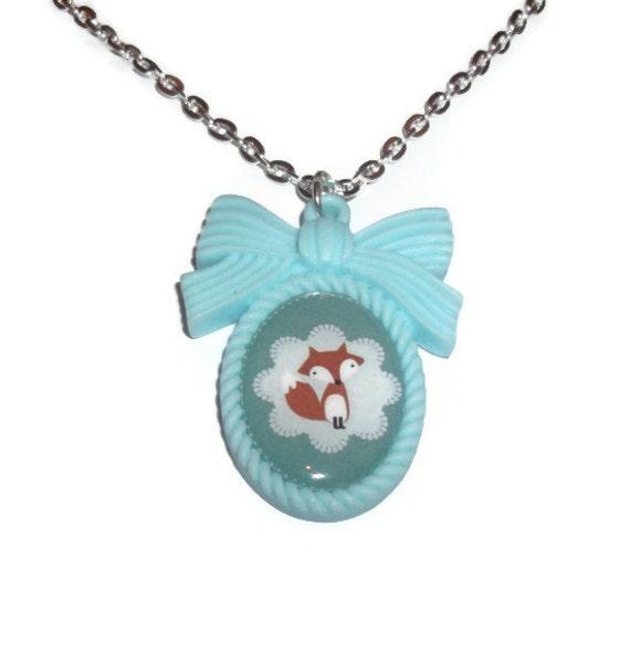 Fox Necklace, Kawaii Green Cameo Necklace
