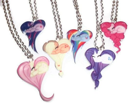 My Little Pony Necklace Set 7 Heart Shape Pony Necklaces