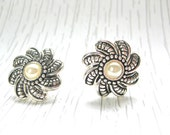 Vintage Pearl Earrings Faux with Silver tone Detailed Clip on Mid Century Fashion Jewellery For Woman