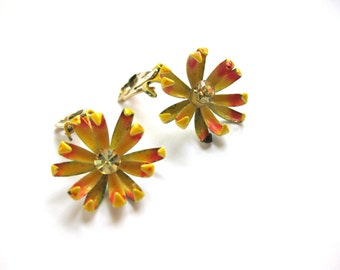 Coro Flower Earrings Signed Clip on Sunny Ochre Yellow Jewelry Nature Spider Mum Fall Fashion Rhinestone
