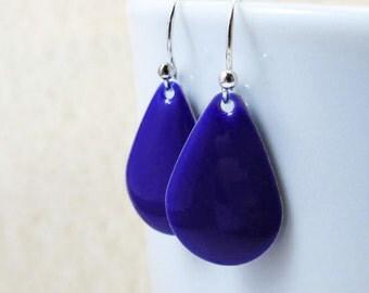 Dangle Drop Earrings - Indigo Blue Epoxy Enamel Teardrops - Sterling Silver Plated over Brass (F-5)