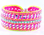 Summer Breeze - Neon Pink and Yellow - Designer Bracelet with Chains, Thread & Crystals