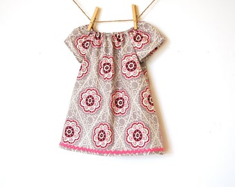 Girls Peasant Dress /  Cotton /  Gray with pink geometric design / sizes 0-6m, 12-18 months, 18-24 months and 2T / Ready to Ship