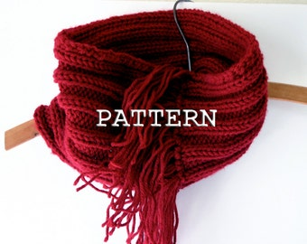 Fringed Cowl Knitting Pattern-Digital PDF- Easy Winter Scarf Pattern- Circle, Infinity Scarf