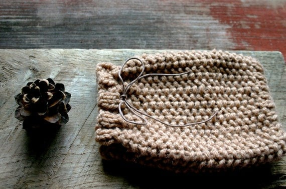 Phone Knit Cozy- Caramel Brown Knit Pouch--Drawstring-  Hand Knitted Cozy- Fits Most Phones