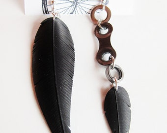 Mismatched Feather Earrings - Recycled Jewelry - Handmade Jewelry - bicycle parts - mismatch earrings - bike