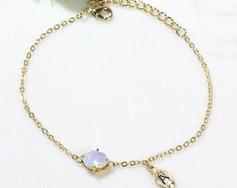 Initial bracelet, Moonstone bracelet, Personalized bracelet