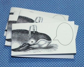 WHISPERING WHALE ... Set of 5 Mini Notecards . Ocean . Mammal . Captioned Critters . Quirky . Gift Cards . Folded Notes . Handmade Envelopes