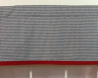 Black Houndstooth Banded Straight Valance