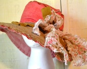 Summer Floppy Hat.  Light and Unique.  Made With 100 percent Linen and Multi Floral print Bow.  Womens