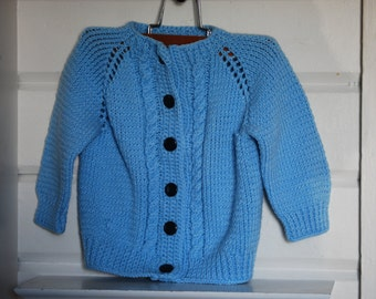 Vintage Baby Sweater, Knitted, Blue, Button Up