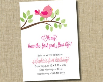 First Birthday Invitation. Bird invitation. oh my how the first year flew by