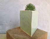 Triangle Geometric Ceramic Faux Bois Flower and Herb Planter in Celadon