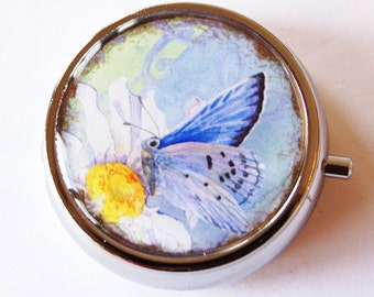 Butterfly Pill Box, Pill Case, Case, Daisy, Pill Container, Bird, Gift for her, Candy container, mint case (2054)