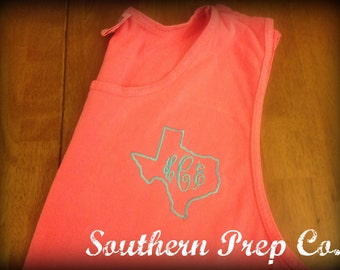 SALE Comfort Colors Brand State Love Monogrammed Unisex/Mens Style Tank