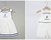 Matching sibling blue and white pique nautical shortall jon jon and dress set with monogram embroidery - MonogramEnvyBoutique