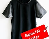 Men Black semi leather t-shirt