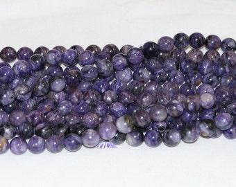 """Natural Charoite 10mm Round Gemstone Beads - 15.5"""" Strand"""