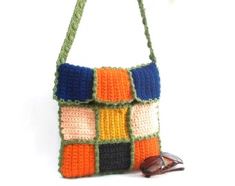 Handmade crochet messenger bag, Green handle, Colorful, Tablet bag, Crochet Square pattern