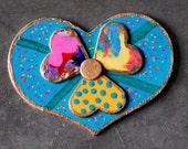 OOAK Baby Blue Country Western Heart Flower Fridge Magnet