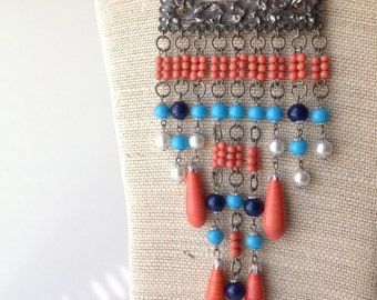 Blue and Orange Statement Necklace